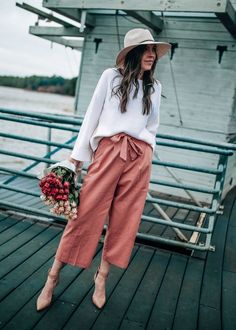 Pink Linen Culotte Pants with Tie Waist ASOS   Pretty in the Pines