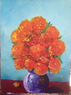 Abstract Orange/Yellow Roses in Vase 12 x 16 Original on Etsy, $576.00