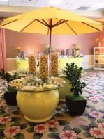 Lemon Break, including a lemonade display, lemon tarts, lemon sorbet, lemon candies, lemon confit, lemon drops, lemon shooters, lemon chiffon cakes, lemon crème brûlées, lemon rum babas, lemon napoleons, and lemon meringues, by Newport Beach Marriott Hotel & Spa in California