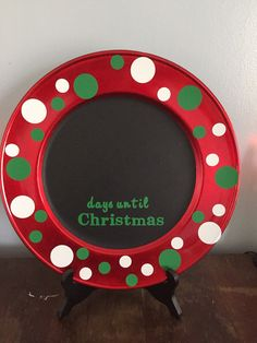 Chalkboard countdown the days until Christmas.. Countdown days until Christmas plate