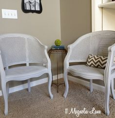 Cane chairs get an updated look with Annie Sloan chalk paint in Paris Grey~via 11 Magnolia Lane