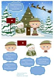 Christmas card with snowman and elf with choice of sentiments on Craftsuprint - View Now!