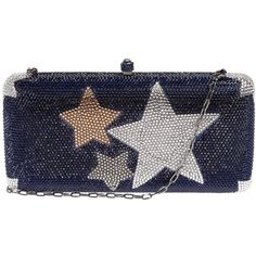 Sylvia Toledano 'Wonder Star' box clutch featuring polyvore, women's fashion, bags, handbags, clutches, purses, blue, hand bags, studded purse, chain handle handbags, studded handbags and hardcase clutch