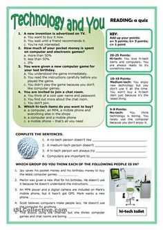 A2 Reading - ESL worksheets Comprehension Exercises, Reading Comprehension, English Lessons, Learn English, Technology Vocabulary, Technology Lessons, Middle School Technology, Computer Lessons, Computer Lab