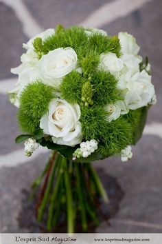 Hand Tied Wedding Bouquet Comprised Of: White & Ivory Roses, White Snowberry, Star Of Bethlehem Buds, Green Trick Dianthus & Green Foliage~~
