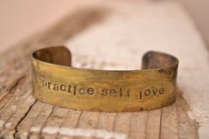 Distressed Brass cuff handstamped with by MYPEACEofJEWELRY on Etsy, $16.50