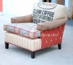 """AVAILABLE - Upholstered vintage club chair and ottoman """"Paisley Clean Coffee Club Chair and Ottoman"""" - In Stock and Available NOW by ReNewalHomeDecor on Etsy"""