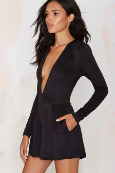 Lioness Mila Plunging Romper - Black | Shop Clothes at Nasty Gal!