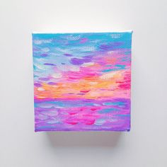 "Hawaiian Neon Sunset - Original Mini 3""x3"" Acrylic Painting on Wrapped Canvas - by Hello Monday Design - $20.00 