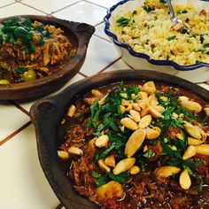 Lamb, Honeyed Prunes & Roast Almonds Tagine. Chicken & Preserved Lemons Tagine.  Cous Cous, Sultanas & Sweet Onions, Roast Cumin Seeds Garnish #Marbella #Sotogrande #Gibraltar #Catering #Moroccan