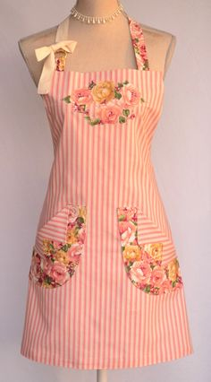 Womens Full Apron Shabby French Country Chic Peach Pink Floral