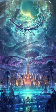 Fantasy Artwork, Fantasy Concept Art, Fantasy Art Landscapes, Beautiful Landscapes, Final Fantasy, Landscape Paintings, Landscape Wallpaper, Fantasy Love, Fantasy City