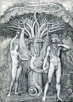 """""""Adam and Eve under the tree of knowledge"""" by Ernst Fuchs, 1984. / """"Adán y Eva bajo el árbol del conocimiento"""" de Ernst Fuchs 1984.       http://www.ernstfuchs-zentrum.com/"""