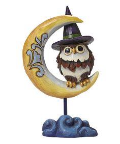 Look at this #zulilyfind! Heartwood Creek Pint Size Owl On Crescent Moon Figurine #zulilyfinds