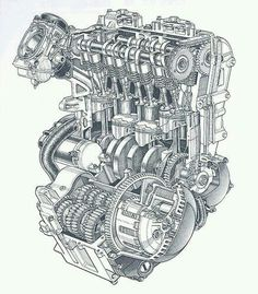 Uma obra de arte! Motorcycle Engine, Motorcycle Art, Car Engine, Motor Engine, Technical Illustration, Technical Drawing, Kawasaki Ninja 600, Japanese Motorcycle, Garage Art