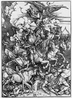 Four Horsemen of the Apocalypse ca. 1497-98 by Albrecht Dürer, woodcut