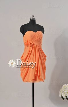 Custom Short Orange Bridesmaid Dress,Orange Women Dresses,Pink Orange Chiffon Dress,Short Orange Bridesmaid Dress,Homecoming Dress(BM130915) on Etsy, $88.35 CAD  Maybe request the little flower poof to be heather grey?