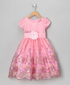 Take a look at this Pink Sequin Organza Flower Dress - Toddler & Girls by Kid Fashion on #zulily today!