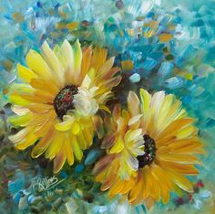 SUNFLOWERS ORIGINAL OIL PAINTING 12 x 12 CANVAS PAT ROLLINS #Outsider