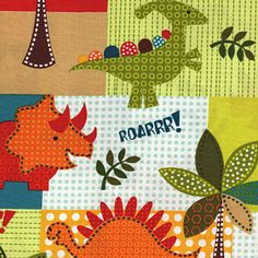 Main fabric for N's dinosaur nursery room.. Dino Roars Dino Patchwork Michael Miller