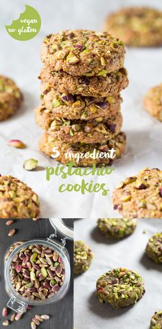 5 ingredient vegan flourless pistachio cookies. They are crunchy on the outside and chewy on the inside.