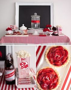 red and white party, love the red stripe and fun elements here