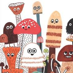 Illustration for my upcoming book, The mushroom fan club, at in May. Girl Sketch, Children's Book Illustration, Book Illustrations, Doodle Sketch, Little Monsters, Fall Crafts, Line Drawing, Childrens Books, Stuffed Mushrooms