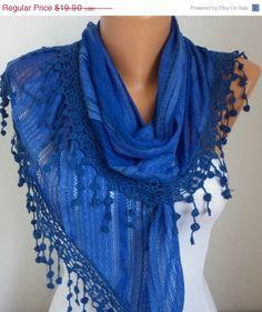 Lace Scarf   scarf shawl  Sale scarf   Free scarf  Blue  by anils, $17.91