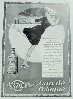 1930's Genuine French Ad - '4711' Perfume Advert Woman Ice Skating (Lutz Ehrenberger) by ChicEtChoc on Etsy