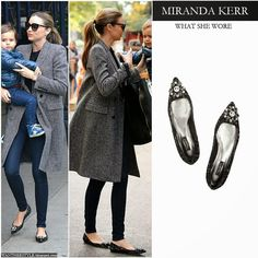 Miranda Kerr in black crystal embellished pointed toe flat shoes by Dolce & Gabbana with grey coat Want Her Style