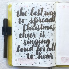 The best way to spread Christmas cheer is singing loud for all to hear 😉 #elf #journal #hobonichi #planner #diary #notebook #filofax #mtn #midori #travelersnotebook #midoritravelersnotebook #scrapbooking #stationery #pens #doodles #doodling#type #typography #letters #lettering #handwriting #handlettering #calligraphy #moderncalligraphy #brushlettering #brushpens #letteritdecember
