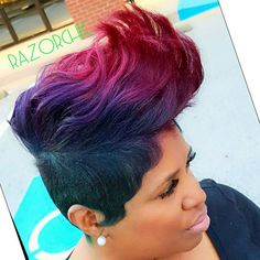 We couldn't figure out what color too use..... what hell use them all @tailormade76  #modernsalon #RAZORCHIC #cutlife #thecutlife #mobhair #behindthechair #oneshot #shorthair #joico #hair #blackgirlsrock #atlanta #realhair #color #pravanna #RAZORCHICOFATLANTA #razorchicofatlantasalon #realhairrocks razorchicofatlanta.com