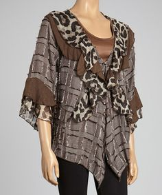 Take a look at this Ecru Leopard Ruffle Silk-Blend Cardigan - Women by Pretty Angel on #zulily today!