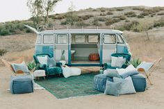 A bohemian wedding - desert, cactis and a kombi