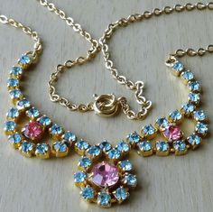 Vintage Blue & Pink Glass Stone Bib Necklace
