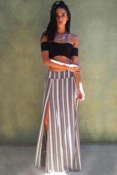 The Trend Boutique Rara Skirt in Pebbles Stripe