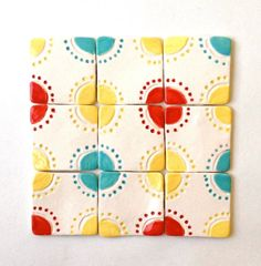 Set of 4 1.25 ACCENT TILE Red Yellow Turquoise by FULTONandCO, $17.50