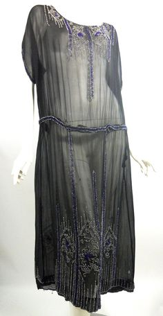 Art Deco Blue Beaded Sheer 1920s Evening Dress $310.00