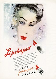 SOLITAIR Lipstick Ad from 1946 Pretty Illustrated Woman COSMETICS #SolitairFashionPointLipstick