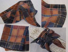 hand painted silk pocket square or wrist/purse scarf - a plaid blanket scarf design in earth tone colors