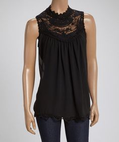 Love this Black Sheer Lace Sleeveless Top by LOVE STITCH on #zulily! #zulilyfinds