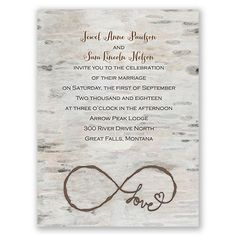 Love forever, just as mother nature intended. These birch tree wedding invitations feature an artistic, watercolor background. The infinity symbol is beautifully finished with the word 'love.' Your wording is printed in your choice of colors and fonts. Outer envelopes are included with all petite wedding invitations. Make these into magnet wedding invitations with a simple upgrade in paper!: