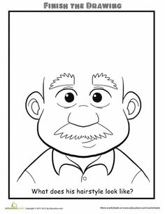 What Does His Hair Look Like? complete the drawing ideas for kids