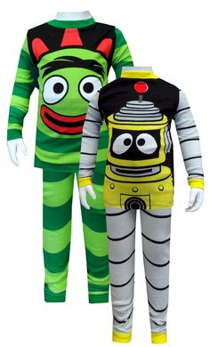 Nickelodeon Yo Gabba Gabba Brobee and Plex Pajama Set  What a pair! These super cute pajamas for toddler boys feature Nickelodeon's Yo Gabba Gabba favorites Plex and Brobee. Each pair resembles the outfit worn by the charcater in the show. These 100% cotton pajamas are designed to be snug fitting for flame resistance. $25