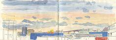 CATALINA: der Himmel über Osthafen Gouache painting on location #skypainter #gouache #pleinair