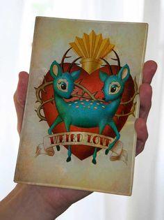 Glass Decoupage 45 x 65 tray Weird Love 2 deer by trixieandmilo, $40.00