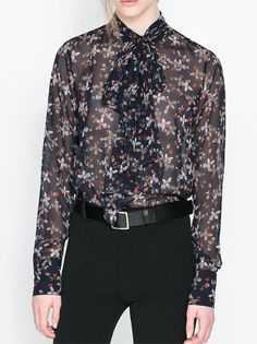 Butterfly Collar Full Sleeve Floral Printing Slim Plus Size Blouse For Women on buytrends.com