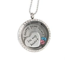 Living Locket - I Carry Your Heart in My Heart - Origami - Floating - Memory Glass Locket by Silver Impressions