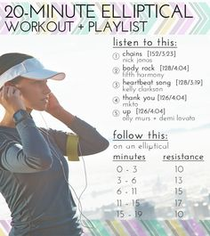 20 Minute Elliptical Workout + Pop Playlist // Need a quick mood boost? Fit in this quick elliptical routine and feel yourself glide to the rhythm of the music and get those endorphins pumping!