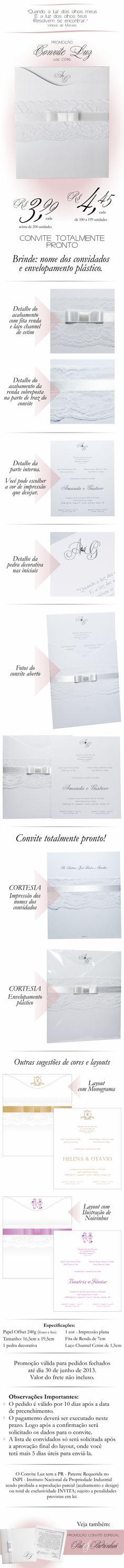 Convite Promocional LUZ faixa em renda, laço chanel, editável